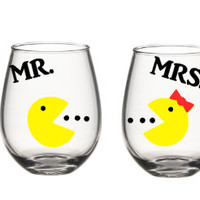 Mr And Mrs Pac Man Wine Glass Set, His and Her Wine Glass Set, Couples Wine Glass Set.