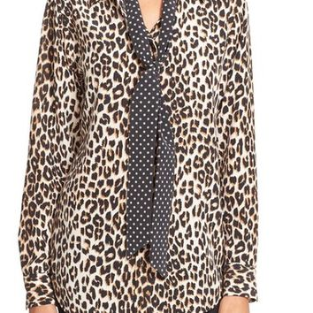 Kate Moss for Equipment 'Slim Signature' Leopard Print Silk Shirt with Tie | Nordstrom