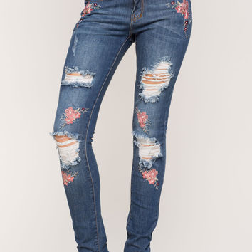 Rose Embroidered Skinny Jeans