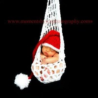 Santa Beanie Cap PHOTO PROP Elfin Pixie Infant to Toddler Hat Knit Red