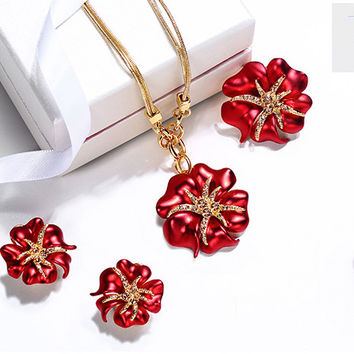 Enamel Flower 18K Gold Plated Alloy Necklaces Earrings Ring ,Crystal Set