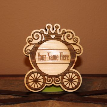 Personalized Princess Carriage Wood Engraved Wall Plaque Art Sign