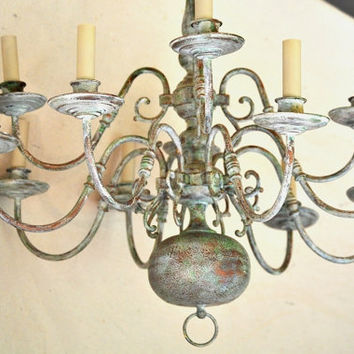 Antiqued Painted Chandelier/ Aged Copper 12 Arm by TheVelvetBranch