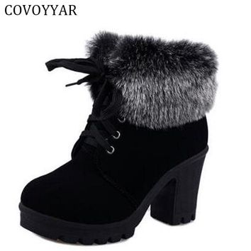 COVOYYA 2018 Autumn Winter Ankle Boots Women Fur Cuff Thick Heel Motorcycle Combat Boots Platform Lace Up Women Shoes WBS226