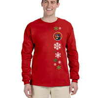 Rottweiler Red Snowflakes  Long Sleeve Red Unisex Tshirt Adult Medium SS4731-LS-RED-M
