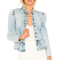 Rebecca Taylor Denim Peplum Jacket in Nuage Wash | REVOLVE