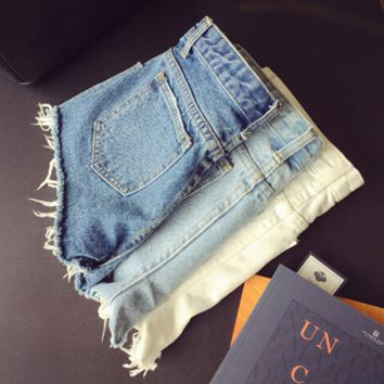 Slim Fit Washed Denim Shorts