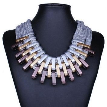 Brand Luxury Charming Chunky Chain Cheap Vintage Gold Silver Plated Statement Choker Necklaces Bijoux Jewelry For Women