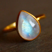 White Moonstone Ring - Teardrop - Vermeil Gold, Stacking Ring, June Birthstone, June Birthdays