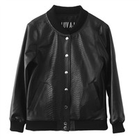 Luv Aj Leather Bomber Jacket in Python Embossed Lambskin