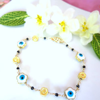 Blue evil eye cherry blossom gold filled bracelet, Blue and white evil eye sakura gold bracelet, lucky evil eye bracelet