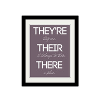 "They're, their, and there. Grammar Poster. Teacher Poster. Classroom Poster. Kids poster. 8.5x11"" Print."