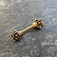 SINGLE (1) Gold Flower Barbell 14g (1.6mm) - nipple cartilage conch piercings