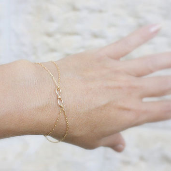Tiny infinity bracelet - 14k gold filled delicate bracelet ring with a tiny handmade infinity, gold bracelet ,14k gold filled bracelet