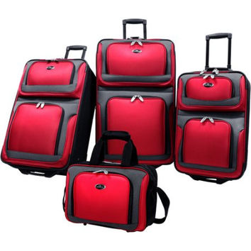 Red, Black, or Blue 4 Piece Carry-On Travel Wheeled Rolling Suitcase Luggage Set Baggage Set