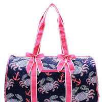 Crab Print Quilted Duffel Bag - 2 Color Choices