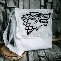 House Stark banner bag ,cotton tote bag, Game of thrones houses, GOT , Winter is comming , Eddard Stark, embroided bag.direwolf