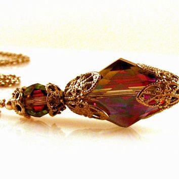 Victorian Style Multi Colored Crystal Pendant Necklace on a Chain