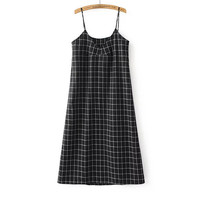 Black Plaid Long Strappy Dress