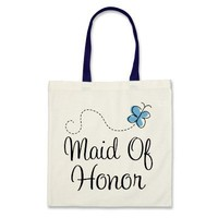 Mini Wedding Day Maid Of Honor Blue Tote Bag from Zazzle.com