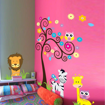Monkey elephant lion zooyoo wall sticker for kids room 5091 decorative adesivo de parede removable pvc wall decal 3.5 SM6