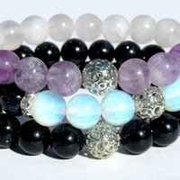 Beaded Bracelets Stack, Stretch Bracelet, Ladies Gemstone Bracelet, Bracelet Collection, Handmade Bracelet