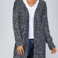 Furry textured crochet knit open cardigan sweater