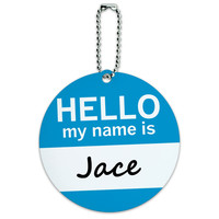Jace Hello My Name Is Round ID Card Luggage Tag