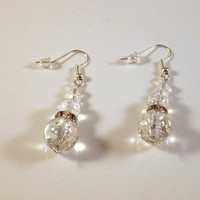 "GLAMOROUS - Crystal and Crackle Glass Dangle Earrings 1 1/2""  Wire Wrapped!"
