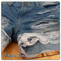 Jean Shorts with Lace on Rim by SheaBoutique on Etsy
