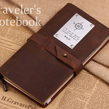 Vintage Leather Journal Notebook - Personalized Compass Leather Note Cover - Handmade Travellers Notebook