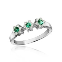 Incanto Royale Designer Rings 18K Gold Emerald and Diamond Trilogy Flower Ring