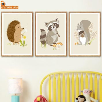 Squirrel Hedgehog Raccoon Wall Art Canvas Painting Nordic Posters And Prints Cartoon Animals Wall Pictures Baby Kids Room Decor