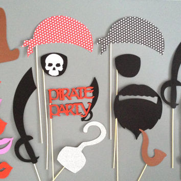 Pirate PHOTO BOOTH PROPS Set of 21 Props Weddings Birthday Parties Halloween Pirate Birthday Party