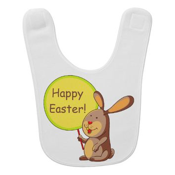 Amber Brown Bunny Holding Board Baby Bib