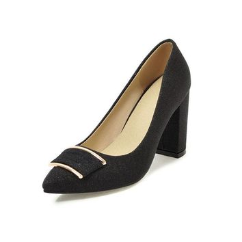 Square High Heels Pointed Toe Pumps Bling Synthetic Shoes
