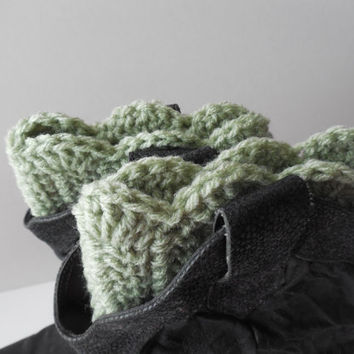 Crochet Boot Cuffs - Light Green - Leg Warmers