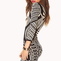 Striking Abstract Bodycon Dress