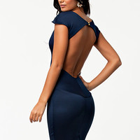 Midi Lenth Open Back Dress - Club L - Navy - Party Dresses - Clothing - Women - Nelly.com