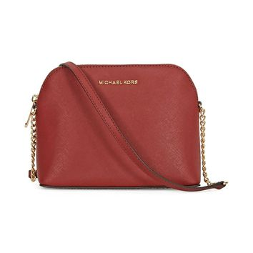 Michael Kors Cindy Large Leather Dome Crossbody, Brick