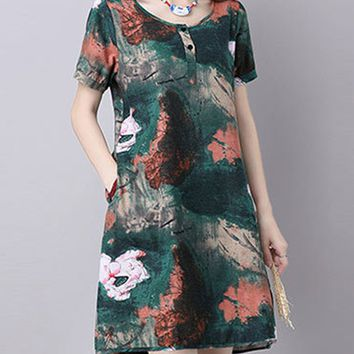 Streetstyle  Casual Ink Floral Cotton/Linen Shift Dress