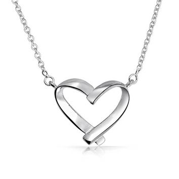 Open Heart Shape Pendant Her High 925 Sterling Silver Necklace