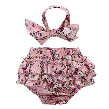 2pcs Infant Floral Clothes Baby Girls Flower Print Briefs + Headband Outfits Children Summer Beach Fashion Clothing Set