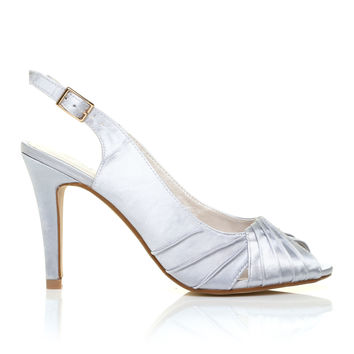 CHLOE Silver Satin Stiletto High Heel Slingback Bridal Peep Toe Shoes