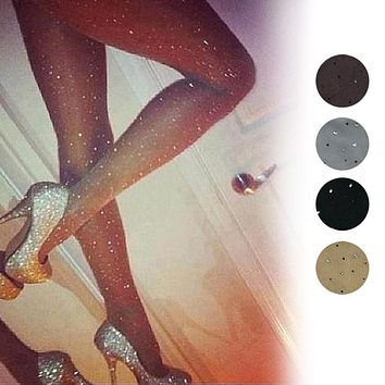 Sexy Women Basic Stretch Ultra Thin Bling Pantyhose Crystal Rhinestone Tights Slim Fit Stockings   -MX8