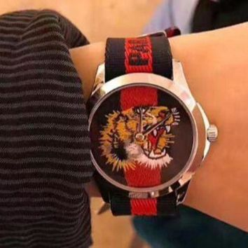 GUCCI Fashion Ladies Men Classic Tiger Embroidery Stripe Watch Sport Watches Wrist Watch I