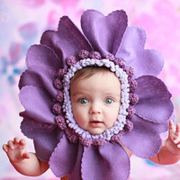 Happy Mothers Day -Flower Baby Bonnet Slip -on Pastel Gerber Daisy  ...Newborn, 3 mos, 6 mos, 9 mos 12 m Photography Prop Flower Hat