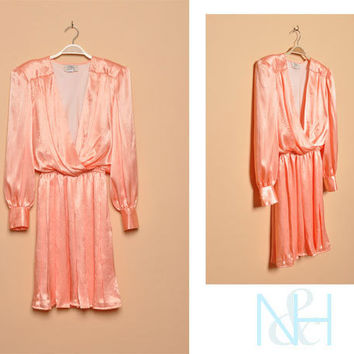 Vintage 1980s Pink Party Dress with Plunging Neckline