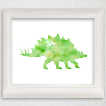 Dinosaur Art Print, Dinosaur Poster, Dinosaur Wall Decor, Dinosaur Wall Art, Watercolor Dinosaur, Watercolor Print, Animal, Kids Room Decor