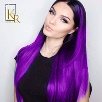1B Purple Lace Front Human Hair Wigs For Women Pre plucked Brazilian Remy Hair Straight Wigs Bleached Knots King Rosa Queen